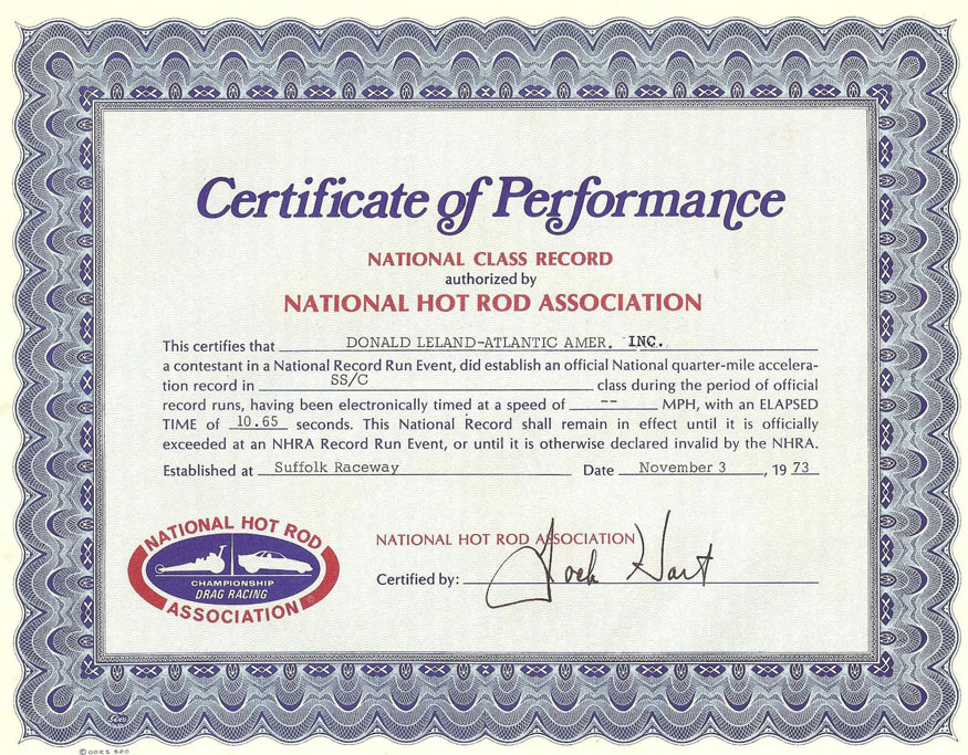Certificate of Performance National Class Record