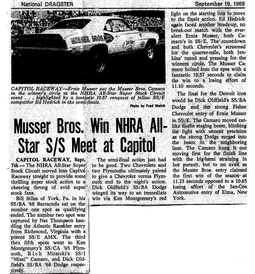 Musser Bros. Win NHRA All-Star S/S Meet at Capitol