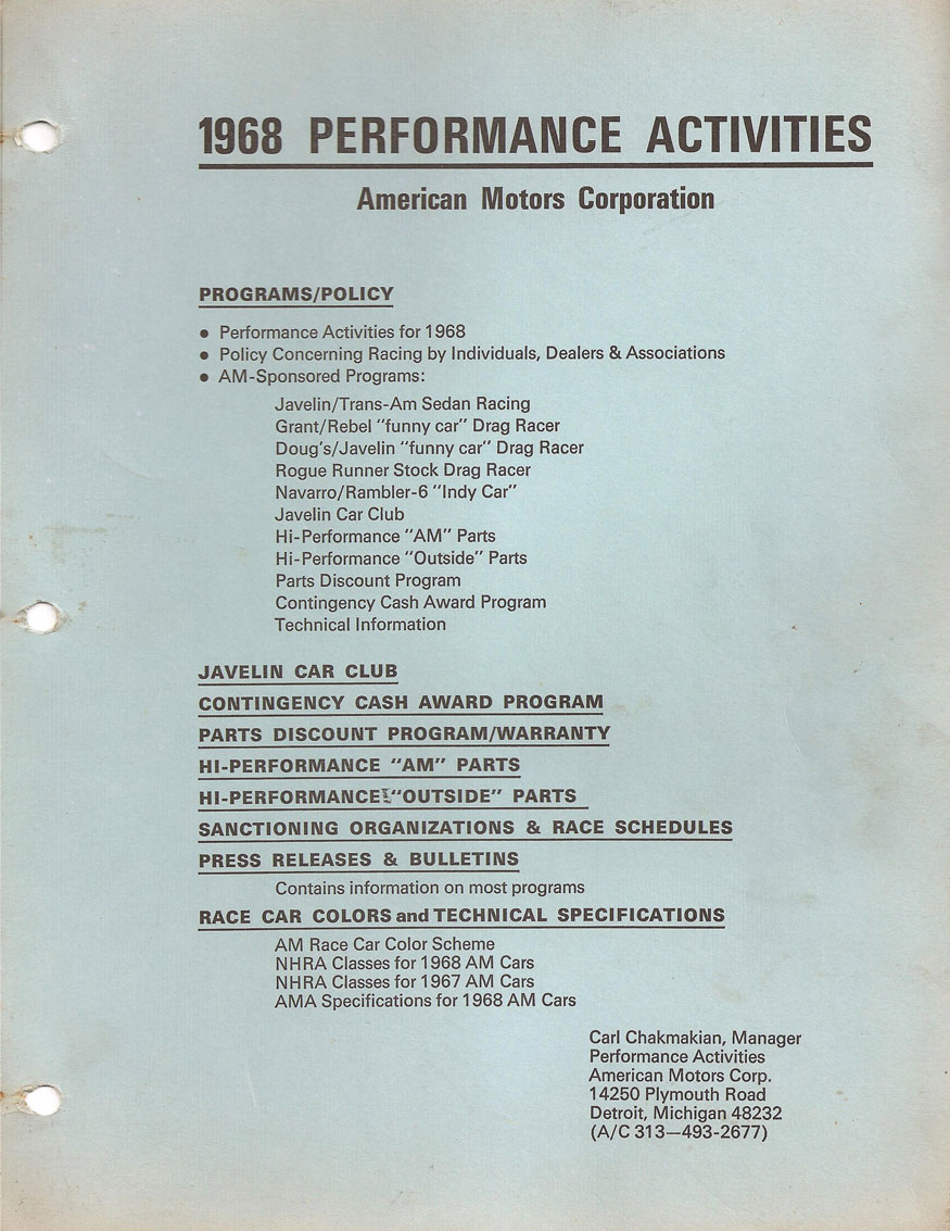 1968 Performance Activities American Motors Corporation