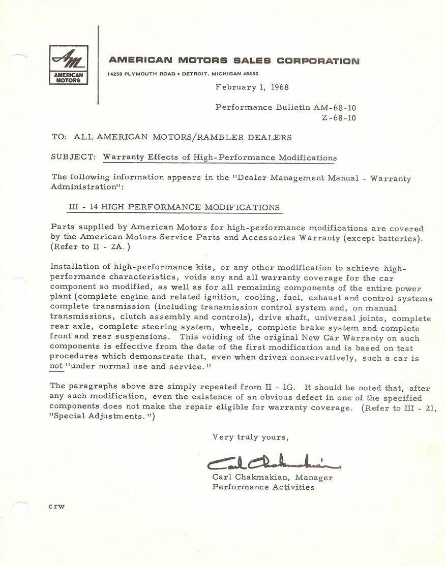 American Motors Sales Corporation Performance Bulletin - Warranty Effects of High-Performance Modifications