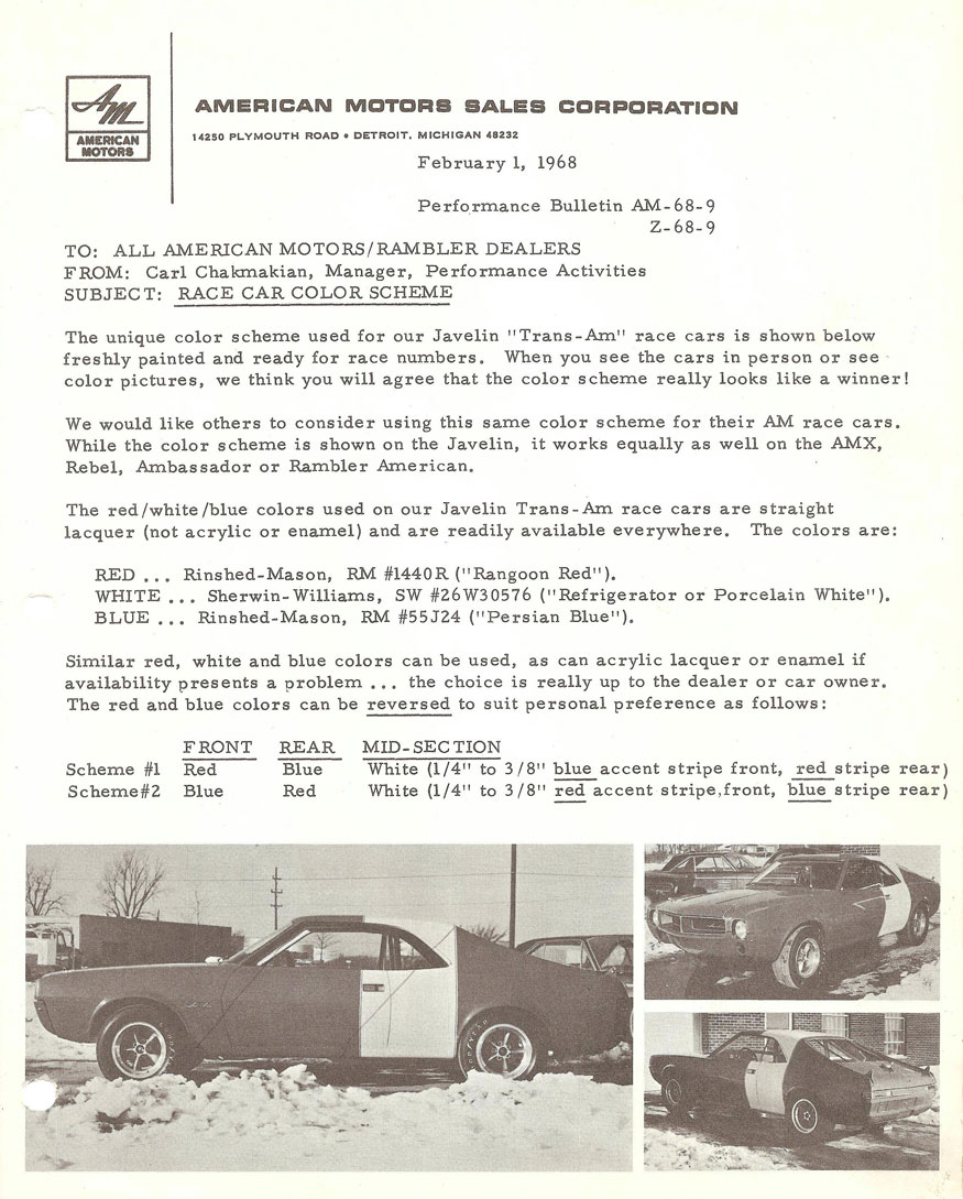 American Motors Sales Corporation Performance Bulletin - Race Car Color Scheme